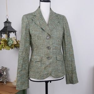 Ann Taylor Blazer Jacket Tweed Long Sleeves Sz 4